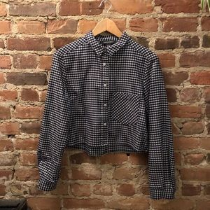 American Apparel cropped flannel button-up, XS